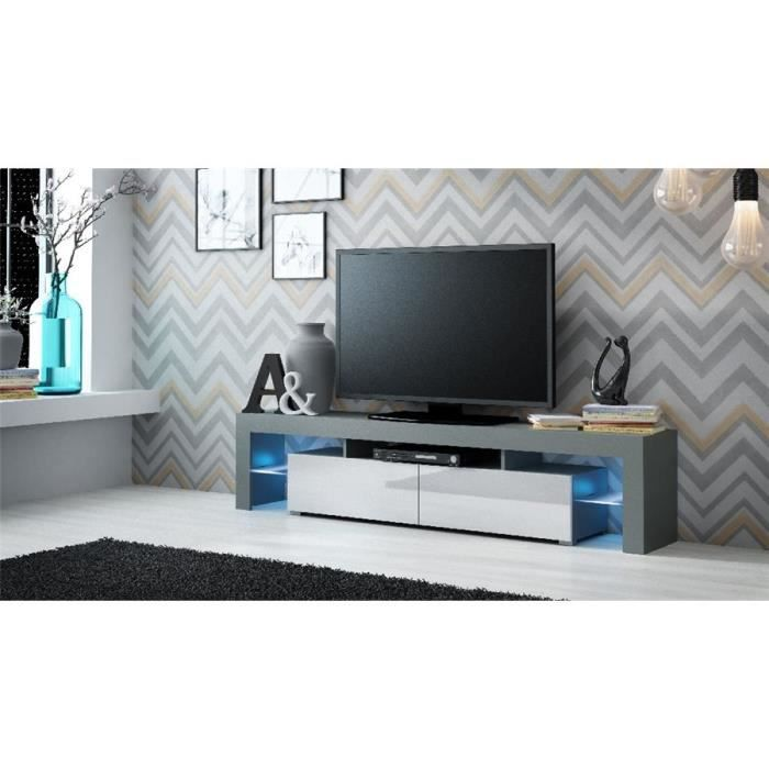 Ensemble meuble TV design CARRIE - Gris et blanc