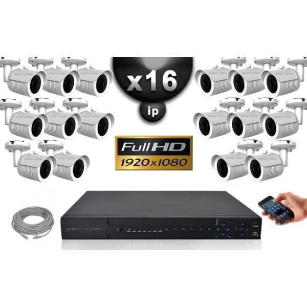 Kit Vidéo Surveillance PRO IP : 16x Caméras Tubes IR 20M Capteur SONY 1080P + En
