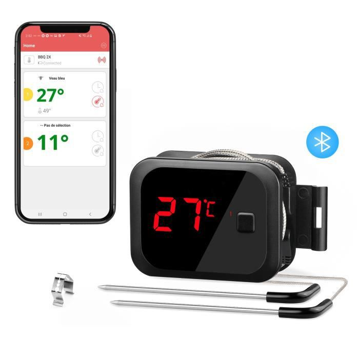 Thermomètre Cuisson,Bluetooth Thermomètre Cuisine Thermomètre Four Thermometre,Barbecue Interieur Exterieur IBT-2X INKBIRD