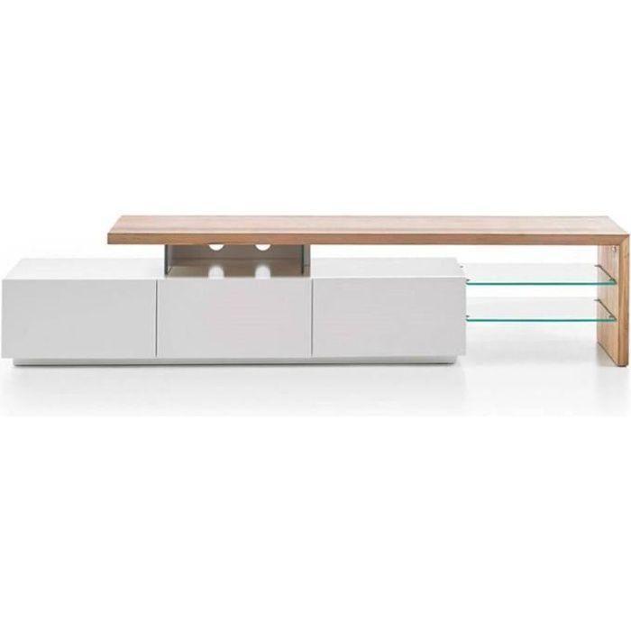 Meuble TV design ALRIK 3 tiroirs structure laquée blanc mat plateau décor chêne blanc Bois Inside75