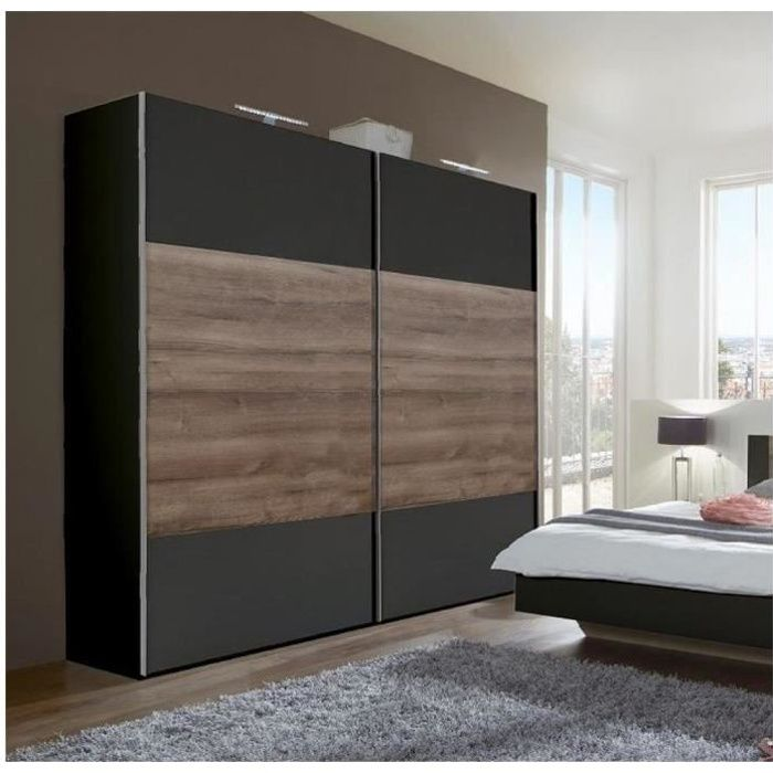 Armoire EVA portes coulissantes largeur 180 graphite / chêne châtaigne noir Bois Inside75