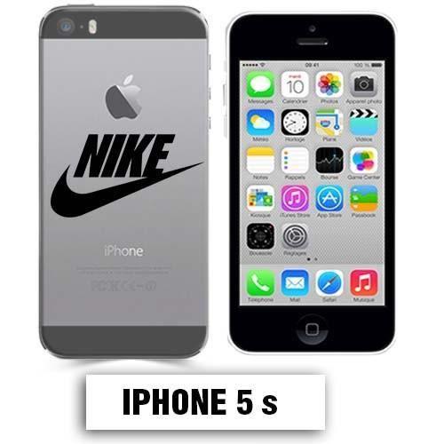 Coque transparente Iphone 5 5S Nike Noir