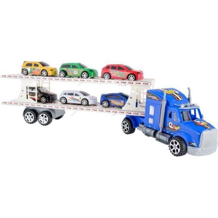 Camion bleu à friction 54cm avec 6 voitures