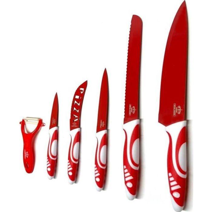 Set Couteaux de Cuisine - Ensemble de Couteaux Pro - Couteaux de Chef 6 Pcs en Céramique avec Eplucheur - Rouge