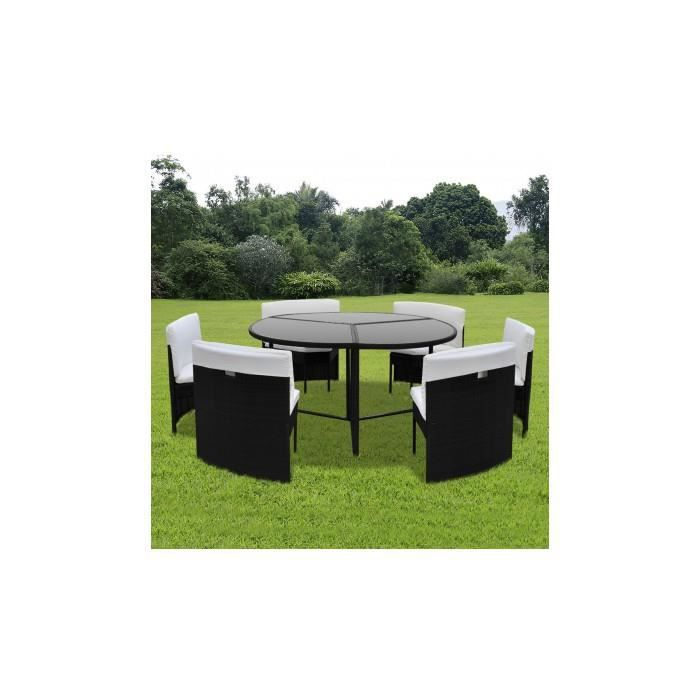 salon de jardin rond 6 places en rotin noir achat vente salon de jardin salon de jardin rond. Black Bedroom Furniture Sets. Home Design Ideas