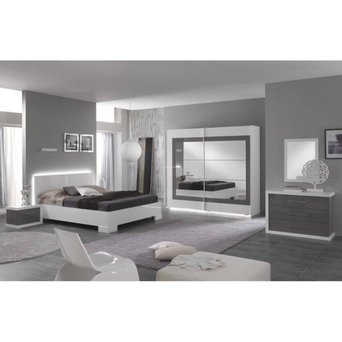 Ensemble lit led 160 laqu blanc armoire 200 laqu blanc for Ensemble de chambre adulte