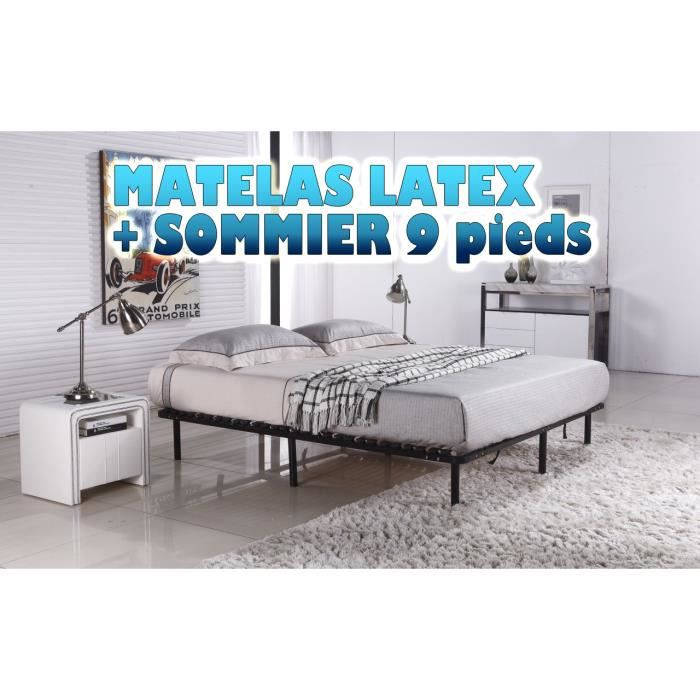 ensemble sommier matelas latex 140x200 achat vente ensemble literie soldes d t cdiscount. Black Bedroom Furniture Sets. Home Design Ideas