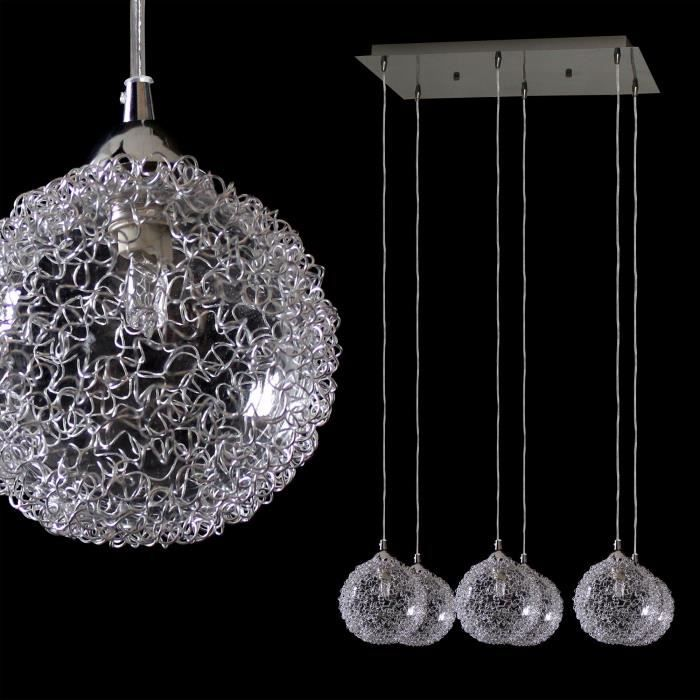 Lustre suspension boule chrome achat vente lustre for Suspension boule noire