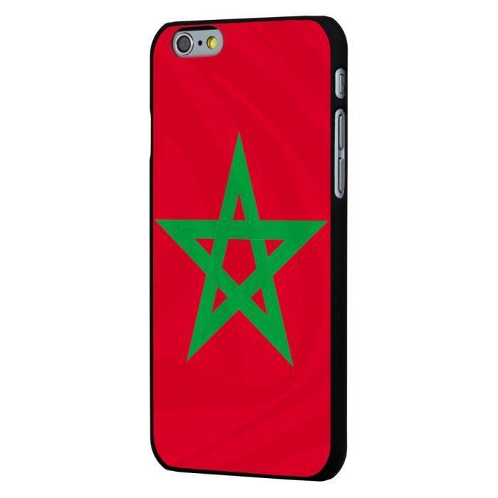 Coque noire iPhone 6 Plus impression drapeau Maroc