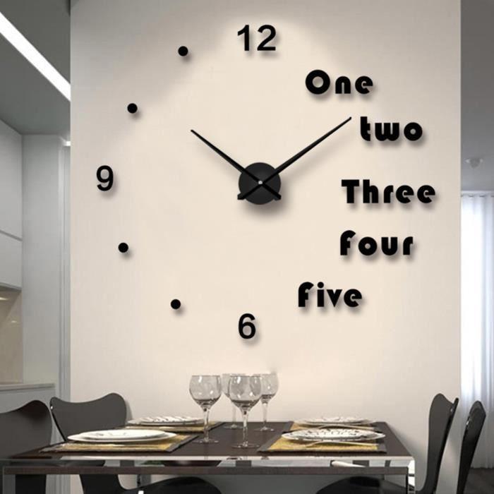 Horloge Murale Miroir 3d Grande Dimension Horloge Pendule Murale