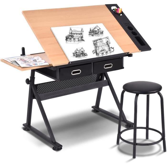 Table A Dessin Inclinable Avec Tabouret 2 Tiroirs Pour L Art Et L