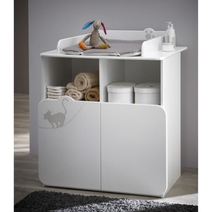 kitty commode table langer 70x55 cm blanc et taupe. Black Bedroom Furniture Sets. Home Design Ideas