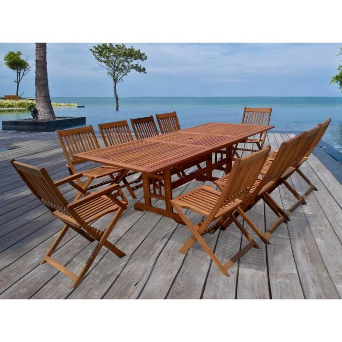 salon de jardin en bois exotique osaka bali 1 table extensible 240 300cm 2 fauteuils 8. Black Bedroom Furniture Sets. Home Design Ideas