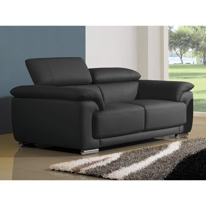 canap 2 places en cuir noir marjorie achat vente canap sofa divan structure bois. Black Bedroom Furniture Sets. Home Design Ideas