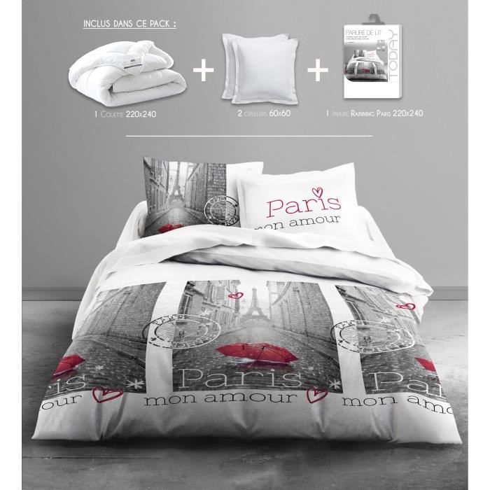 today pack linge de lit adulte raining paris 1 couette 220x240 2 oreillers 60x60 1 parure. Black Bedroom Furniture Sets. Home Design Ideas
