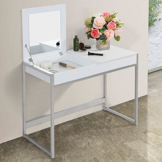 coiffeuse blanche table de maquillage avec miroir et 2 compartiments achat vente coiffeuse. Black Bedroom Furniture Sets. Home Design Ideas