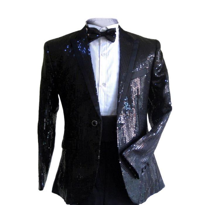 Costume pour homme, habit de cérémonie deux pièces, col tailleur avec  paillettes en masse, pour mariage, représentation