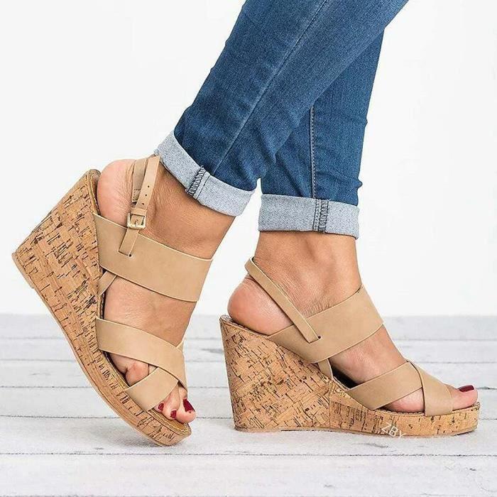 Sandales Femmes Style Bohème Nu pieds Compensé Chaussures