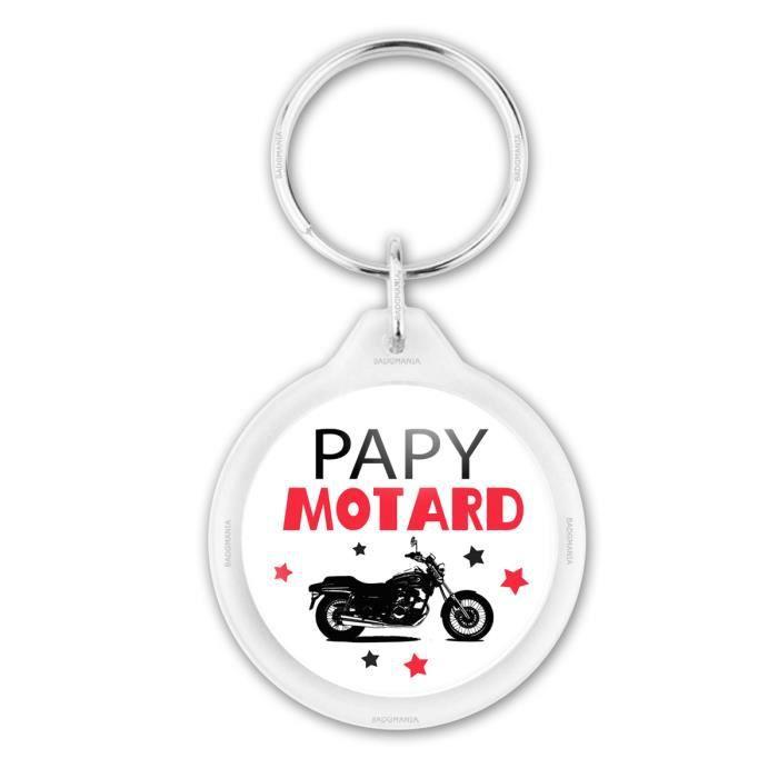 Porte-Cl/és Rond Plastique Le Papa Parfait est Motard Moto Noire Fond Blanc Id/ée Cadeau F/êtes des Peres Anniversaire