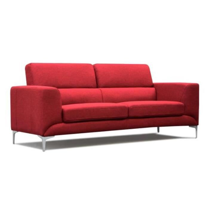 Canap 3 places en tissu rouge u24 3 places m achat for Canape 3 places rouge
