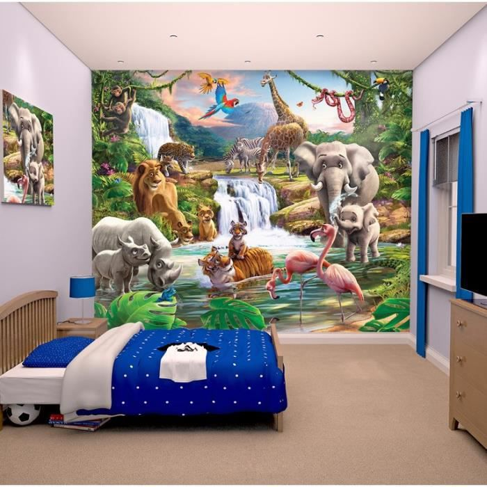 room studio fresque murale d corative jungle papier peint achat vente stickers cdiscount. Black Bedroom Furniture Sets. Home Design Ideas