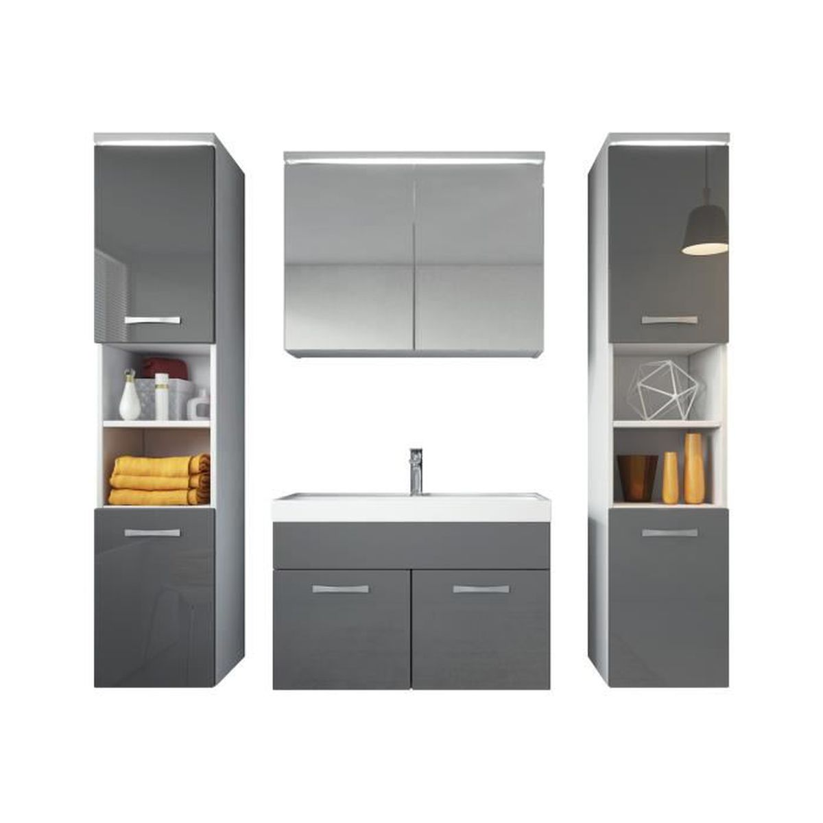 meuble de salle de bain paso xl armoire de rangement meuble lavabo vier meuble lavabo gris. Black Bedroom Furniture Sets. Home Design Ideas