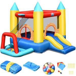 AIRE DE JEUX GONFLABLE COSTWAY 4 en 1 Château Gonflable pour 3 Enfants 3-