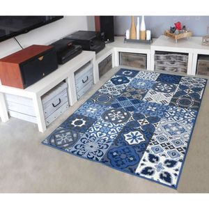 TAPIS Tapis salon PATCHWORK carreaux ciment bleu DEBONSO