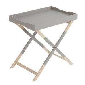 TABLE D'APPOINT Home Decor - Table Pliable avec Plateau Gris - Cou