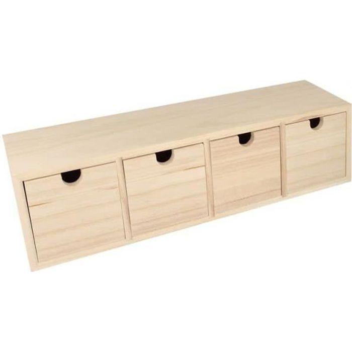 Bloc en bois 4 tiroirs 44x10x15cm - Artémio Marron