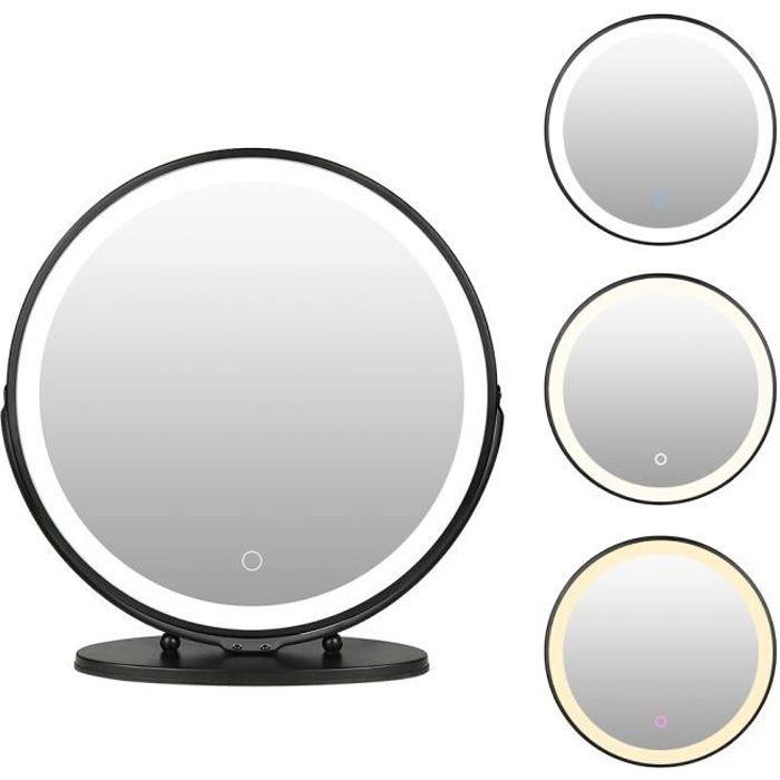Miroir Maquillage Lumineux LED, Miroir de table Pivotant à 360 ° , avec Touch Control Design, Gradable en 3 couleurs - Noir 50x 50cm