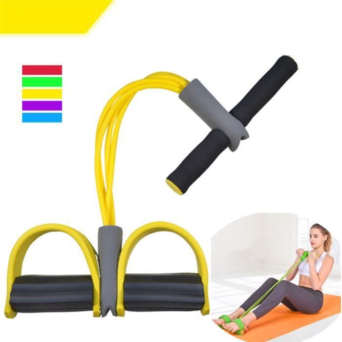 100Pack Appareil de gym 4 avec repose-pieds pour exercice - Rameur avec élastique Jaune