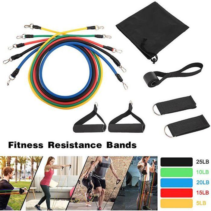 11 pièces Set Elastique Musculation de Sport - Bandes de Résistance - Bande Elastique Fitness Yoga,Perdre du Poids,Gym Entraînement