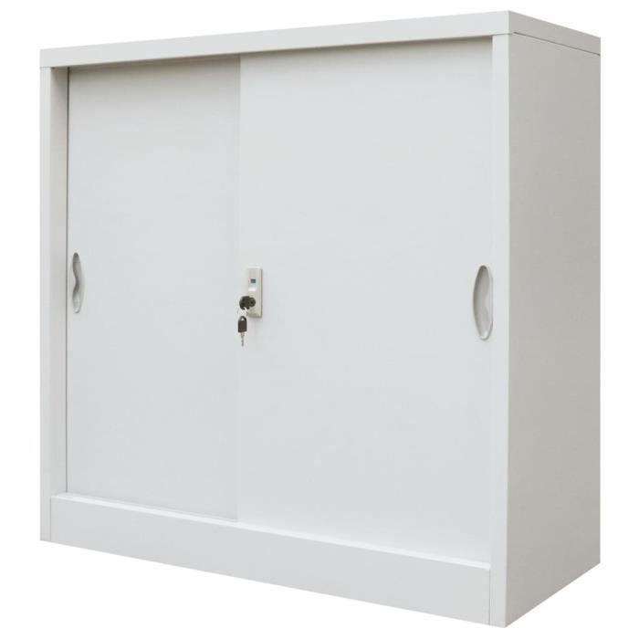 Armoire de bureau avec porte coulissante pour ranger dossiers Métal 90x40x90 cm Gris