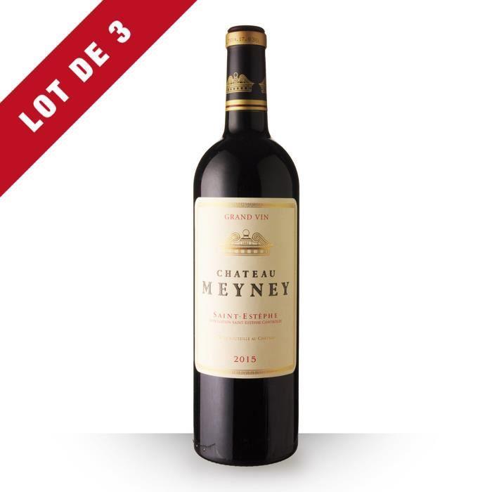 Lot de 3 - Château Meyney 2015 AOC Saint-Estèphe - 3x75cl - Vin Rouge