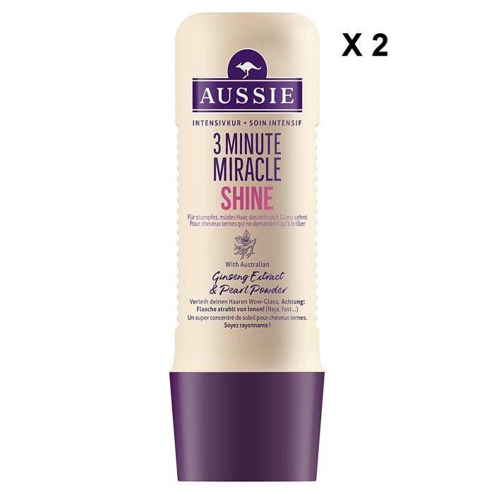 Aussie - Lot de 2 - 3 Minute Miracle Shine Soin Intensif pour Cheveux Ternes et Fatigués 250 ml x 2