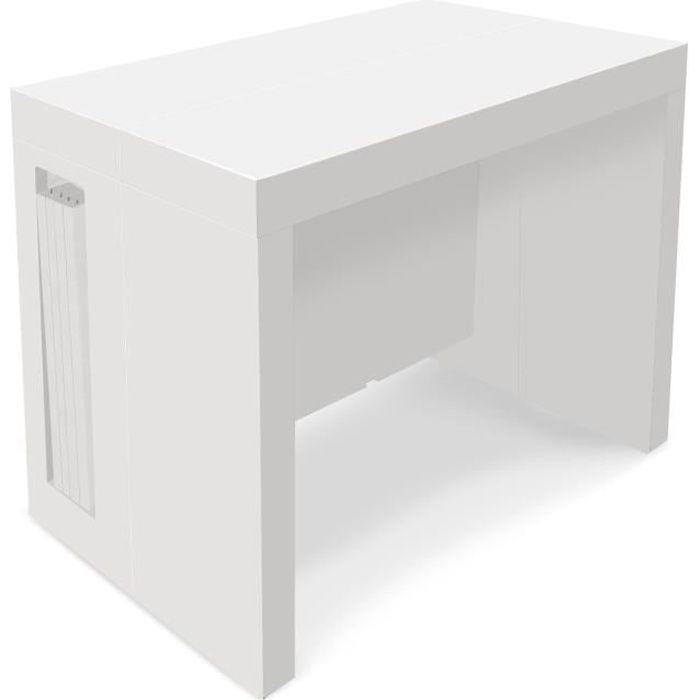 Table Console extensible Loki Blanc laqué - 12 personnes