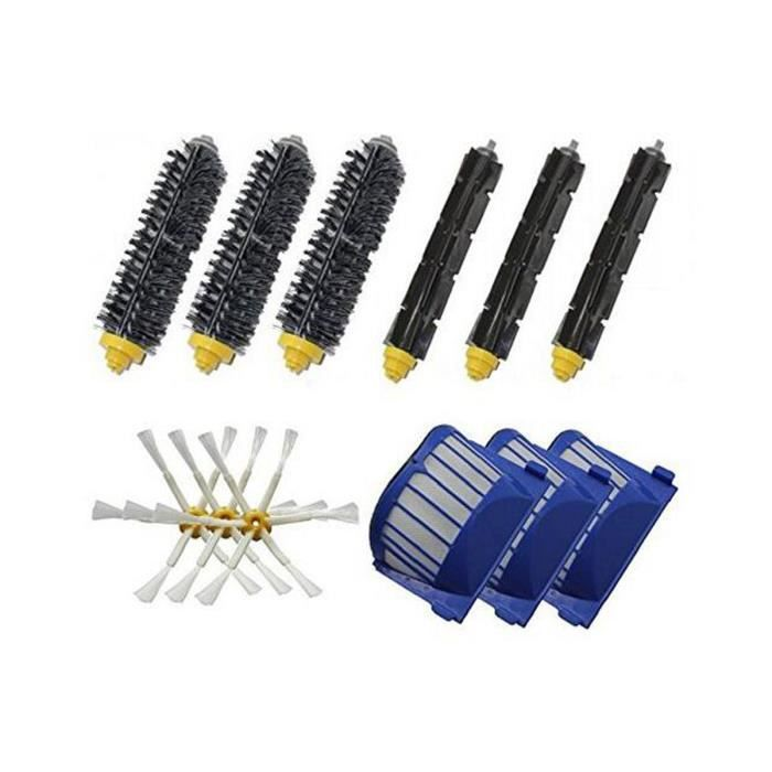 3X brosses à poils+3X Flexible Beater Brushes+3 X6-Armed Side Brushes Pour iRobot Roomba 600 Series Aspiration Robots