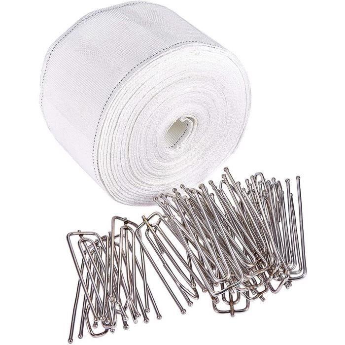 Increway Ruflette pour rideau à plis profond avec lot de 20 agrafes à 4 branches en acier inoxydable Blanc 10 m[239]