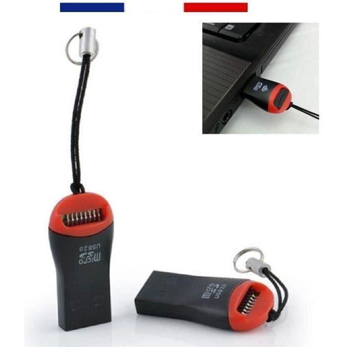 LECTEUR ADAPTATEUR CLÉ USB 2.0 POUR CARTE MÉMOIRE MICRO-SD-HC JUSQU'À 32GO-32GB bes16354