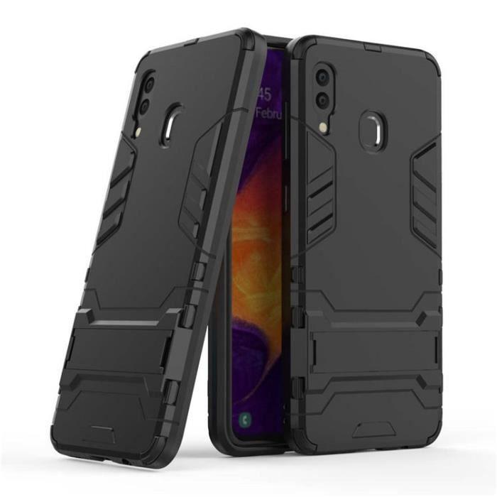 Compatible Coque Samsung Galaxy A20,Coque Anti Choc Pour Hybride Double Couche,Pour Samsung Galaxy A20 (Noir)