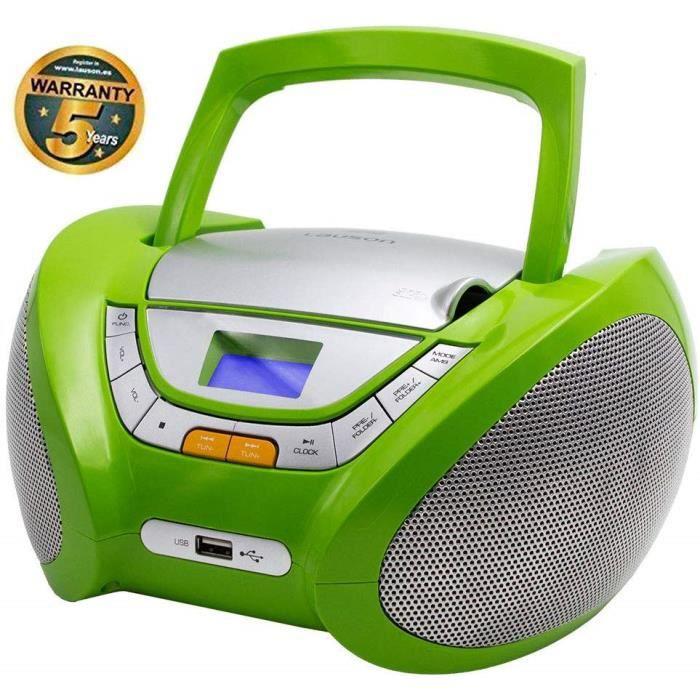 Lauson CP444 Lecteur CD Boombox audiobooks Radio Portable avec USB, Lecteur MP3 pour Enfant. Prise Casque, Aux-in, Écran LCD (Vert)
