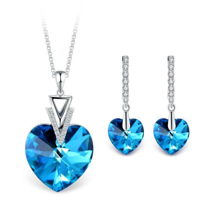 T400 Jewelers -Mon Destin Collier Pendentif Coeur et Dormeuses Boucles d'oreilles Cristal de Swarovski Elements Ensembles de Bijo