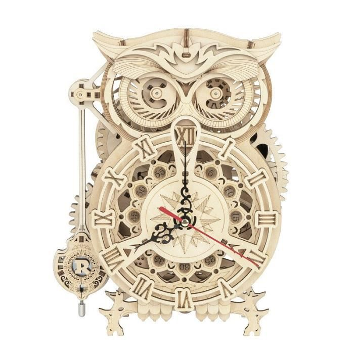 Horloge,Bricolage créatif 3D hibou horloge en bois modèle bloc de construction Kits assemblage jouet cadeau pour enfants adulte #B