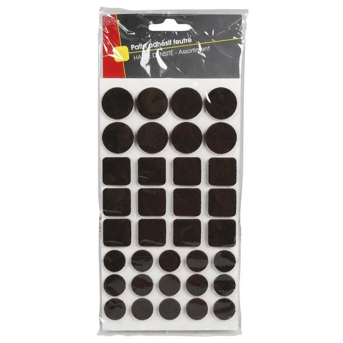 COGEX Patin adhesif feutre marron - 105 pcs