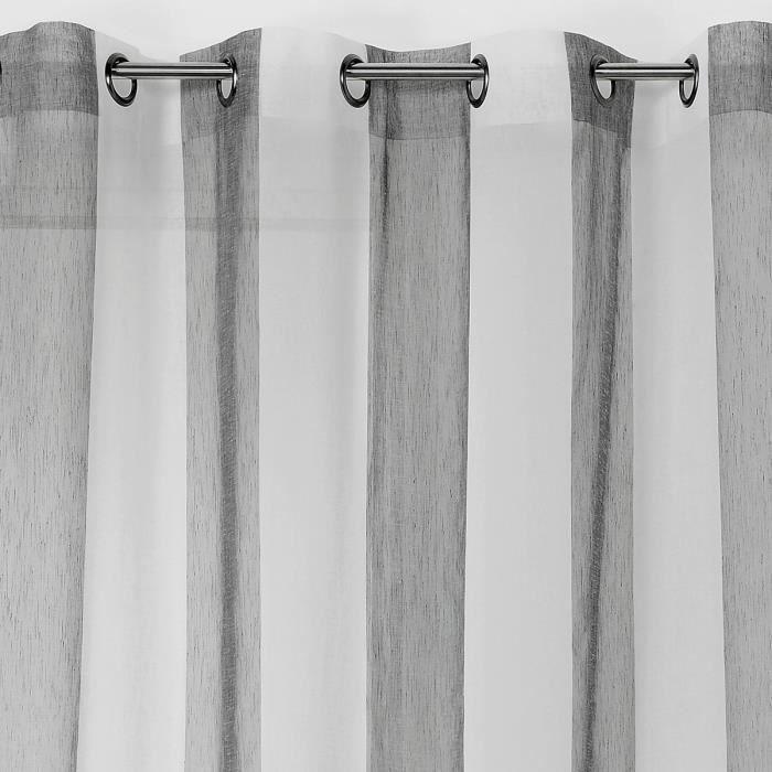 Voilage à rayures verticales colorées Gris Foncé 160 x 280 cm