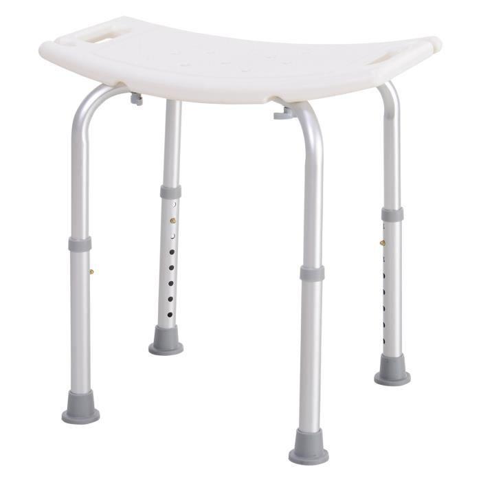 Tabouret de douche ergonomique hauteur réglable pieds antidérapants charge max. 136 Kg alu HDPE blanc