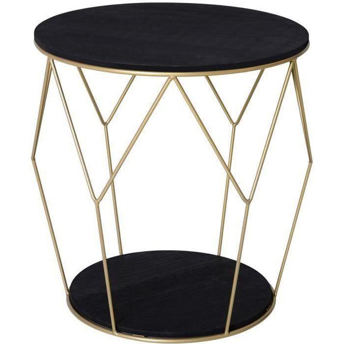 Table basse ronde design style art déco Ø 45 x 48H cm MDF noir métal doré 45x45x48cm Noir