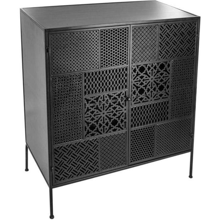 Buffet à 2 portes Arabesque en Métal coloris Noir - 80 x 40 x 91 cm