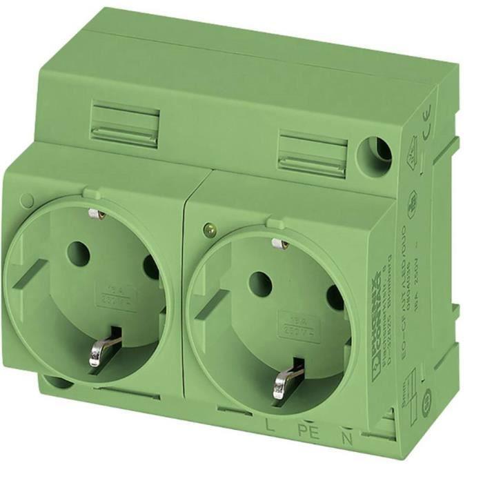 Prise 2P+T modulaire Phoenix Contact EO-CF/UT/LED/DUO/GN 804037 vert (L x l) 60 mm x 90 mm 1 pc(s)